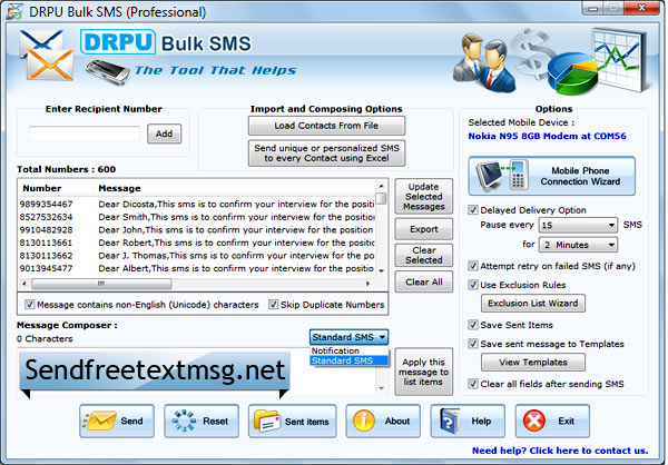 Screenshot of Send Free Text Message